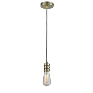 Gatsby Antique Brass One-Light Mini Pendant with Gray Cord