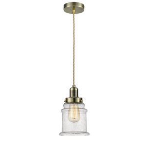 Whitney Antique Brass Eight-Inch One-Light Mini Pendant with Rope Cord