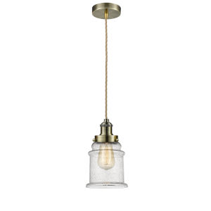 Edison Antique Brass Eight-Inch One-Light Mini Pendant with Rope Cord