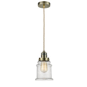 Winchester Antique Brass Eight-Inch One-Light Mini Pendant with Rope Cord
