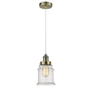 Edison Antique Brass Eight-Inch One-Light Mini Pendant with White Cord