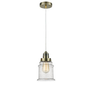 Winchester Antique Brass Eight-Inch One-Light Mini Pendant with White Cord