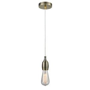 Chelsea Antique Brass One-Light Mini Pendant with White Cord
