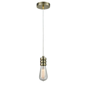 Gatsby Antique Brass One-Light Mini Pendant with White Cord