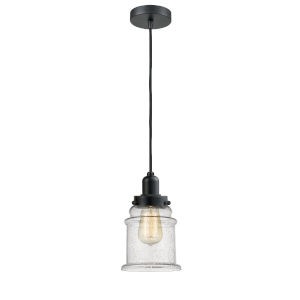 Whitney Matte Black Eight-Inch One-Light Mini Pendant with Black Cord