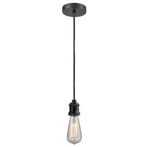 Edison Matte Black Two-Inch One-Light Mini Pendant with Black Cord