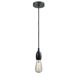 Chelsea Matte Black One-Light Mini Pendant with Black Cord