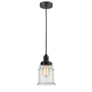 Whitney Matte Black Eight-Inch One-Light Mini Pendant with Brown Cord