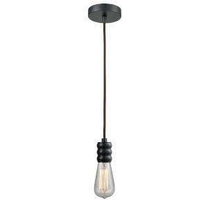 Gatsby Matte Black One-Light Mini Pendant with Brown Cord