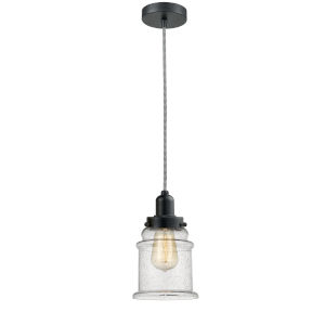 Whitney Matte Black Eight-Inch One-Light Mini Pendant with Zebra Cord