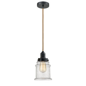 Whitney Matte Black Eight-Inch One-Light Mini Pendant with Copper Cord