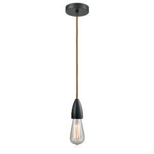 Fairchild Matte Black One-Light Mini Pendant with Copper Cord