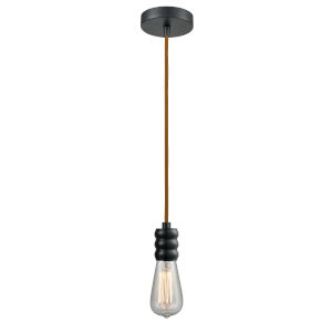 Gatsby Matte Black One-Light Mini Pendant with Copper Cord