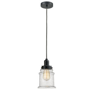 Whitney Matte Black Eight-Inch One-Light Mini Pendant with Gray Cord
