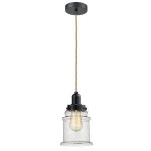 Whitney Matte Black Eight-Inch One-Light Mini Pendant with Rope Cord