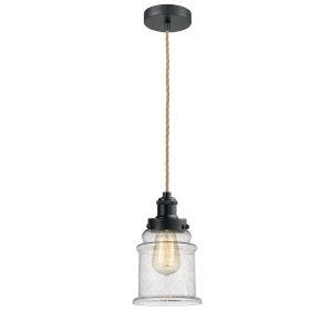 Edison Matte Black Eight-Inch One-Light Mini Pendant with Rope Cord
