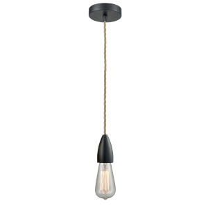 Fairchild Matte Black One-Light Mini Pendant with Rope Cord