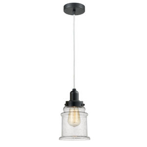 Whitney Matte Black Eight-Inch One-Light Mini Pendant with White Cord