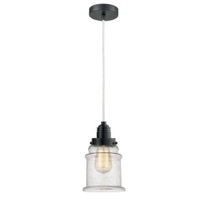 Winchester Matte Black Eight-Inch One-Light Mini Pendant with White Cord