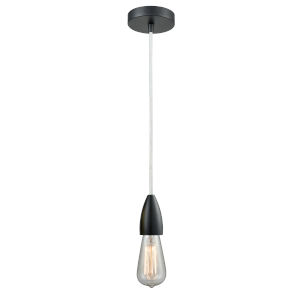 Fairchild Matte Black One-Light Mini Pendant with White Cord