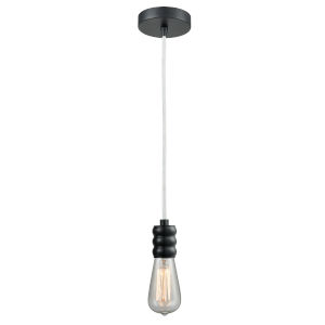 Gatsby Matte Black One-Light Mini Pendant with White Cord