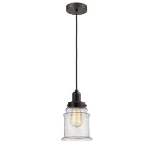 Whitney Oil Rubbed Bronze Eight-Inch One-Light Mini Pendant with Black Cord