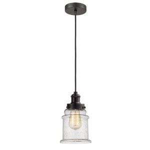 Edison Oil Rubbed Bronze Eight-Inch One-Light Mini Pendant with Black Cord
