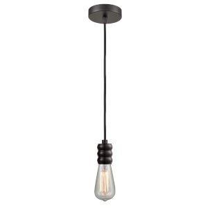 Gatsby Oil Rubbed Bronze One-Light Mini Pendant with Black Cord