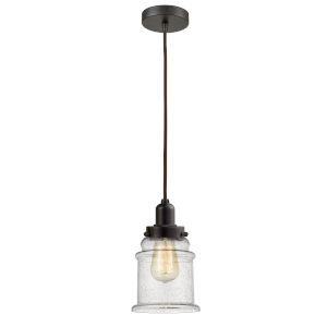 Whitney Oil Rubbed Bronze Eight-Inch One-Light Mini Pendant with Brown Cord