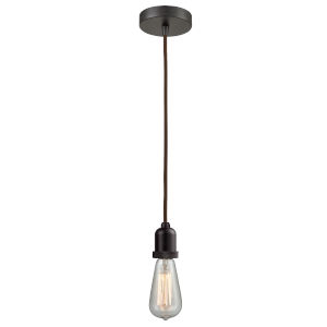 Whitney Oil Rubbed Bronze Two-Inch One-Light Mini Pendant with Brown Cord