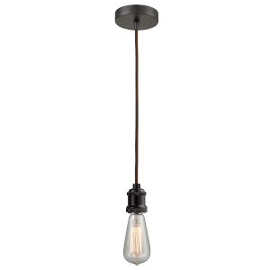 Edison Oil Rubbed Bronze Two-Inch One-Light Mini Pendant with Brown Cord