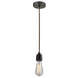Winchester Oil Rubbed Bronze Two-Inch One-Light Mini Pendant with Brown Cord
