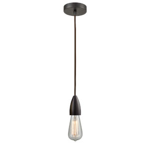 Fairchild Oil Rubbed Bronze One-Light Mini Pendant with Brown Cord