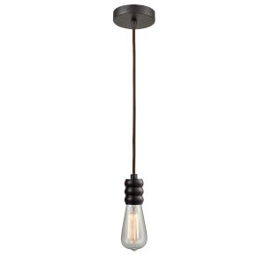 Gatsby Oil Rubbed Bronze One-Light Mini Pendant with Brown Cord