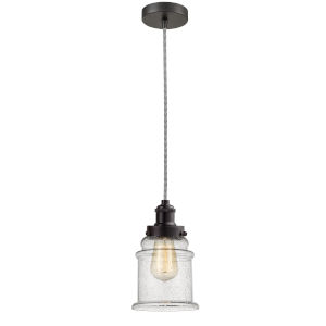 Edison Oil Rubbed Bronze Eight-Inch One-Light Mini Pendant with Zebra Cord