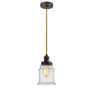 Edison Oil Rubbed Bronze Eight-Inch One-Light Mini Pendant with Copper Cord