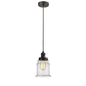 Edison Oil Rubbed Bronze Eight-Inch One-Light Mini Pendant with Gray Cord