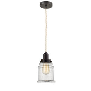 Whitney Oil Rubbed Bronze Eight-Inch One-Light Mini Pendant with Rope Cord