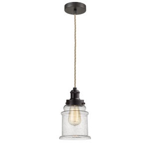 Edison Oil Rubbed Bronze Eight-Inch One-Light Mini Pendant with Rope Cord