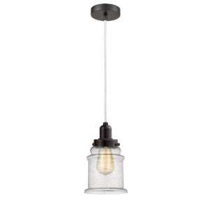 Whitney Oil Rubbed Bronze Eight-Inch One-Light Mini Pendant with White Cord