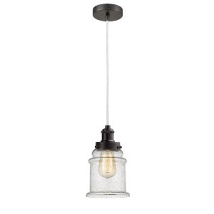 Edison Oil Rubbed Bronze Eight-Inch One-Light Mini Pendant with White Cord