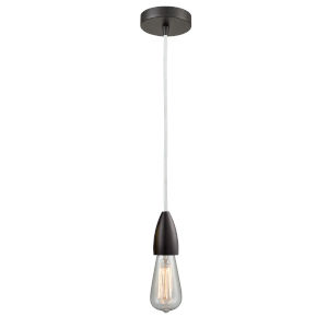 Fairchild Oil Rubbed Bronze One-Light Mini Pendant with White Cord
