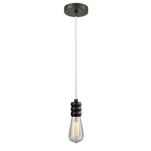 Gatsby Oil Rubbed Bronze One-Light Mini Pendant with White Cord