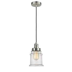 Edison Satin Nickel Eight-Inch One-Light Mini Pendant with Black Cord