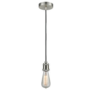 Edison Satin Nickel Two-Inch One-Light Mini Pendant with Black Cord