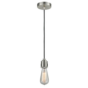 Winchester Satin Nickel Two-Inch One-Light Mini Pendant with Black Cord
