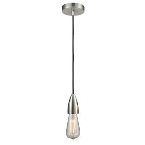 Fairchild Satin Nickel One-Light Mini Pendant with Black Cord