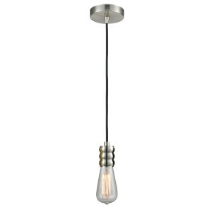 Gatsby Satin Nickel One-Light Mini Pendant with Black Cord