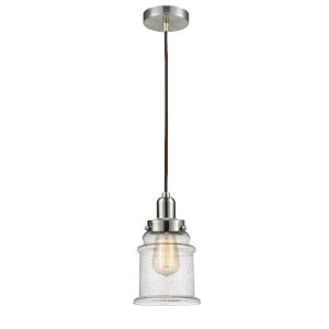 Whitney Satin Nickel Eight-Inch One-Light Mini Pendant with Brown Cord