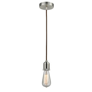 Whitney Satin Nickel Two-Inch One-Light Mini Pendant with Brown Cord